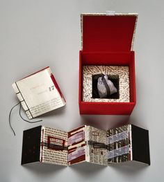 """Gangster by Never Mind the Press. 2012. Box: 3 7/8 x 3 7/8 x 3 1/2"""". Book: 3 x 3"""". Jacob's ladder: 2 1/2 x 2 1/2 x 1 3/8"""". Typewritten and erasure texts; found book pages and collage; muslin and shredded money; book cloth and Davey board"""