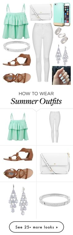 """""""Turquoise Outfit"""" by ashrushzoo on Polyvore featuring LE3NO, Topshop, Steve Madden, Michael Kors, Tory Burch and Carolee"""