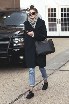 Women's fashion navy blue cardigan microfleece sweater overcoat+grey warm scarf+skinny denim jean pants