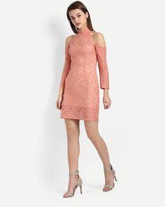 Coral Gabana Lace Cold Sholuder Pencil Dress