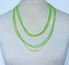 Vintage Multistrand Triple Three Multi Strand Neon Bright Green Yellow Square Opaque Bead Beaded Sautoir Flapper Rope Length Necklace by ThePaisleyUnicorn on Etsy