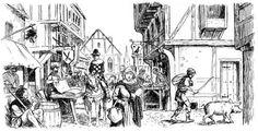 Rue d'une ville au Moyen Âge