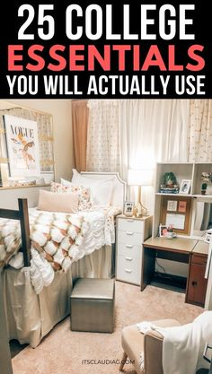 My daughter is a college freshman and she loved this post about college dorm essentials freshman year. Definitely saving this! They go through all the college essentials supplies you actually… College Necessities, College Dorm Essentials, College Dorm Rooms, Room Essentials, College Packing, College Hacks, Bedroom Decor On A Budget, Dorm Room Organization, Uni Room
