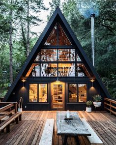 Perfect Diy A Frame Cabin Ideas Diy A Frame Cabin - This Perfect Diy A Frame Cabin Ideas wallpapers was upload on January, 3 2020 by admin. Here latest Diy A Frame Cabin design colle. Cabin Design, Tiny House Design, Wood House Design, Home Design, Cabins In The Woods, House In The Woods, Triangle House, A Frame House Plans, A Frame House Kits