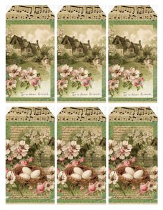 Sweet Spring Cottage - tags and journal paper  **********************************************  Lilac & Lavender - #free #printables #scrapbooking #memory #crafts #decoupage #graphics #labels #tags #cards #spring #dogwood #cottage #nest #music - tå√