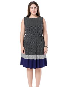 25d562c908 Chicwe Women s Sleeveless Chevron Border Printed Plus Size Dress      Quickly view this special