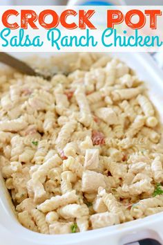 Crock Pot Salsa Ranch Chicken Pasta - The Country Cook