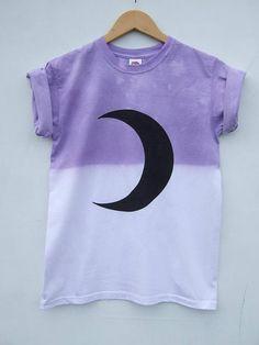 Pastel Goth Moon Crescent Phase Grunge Top Purple Dip Dye