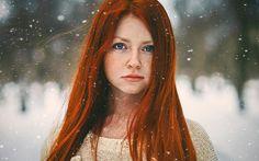 Bright Red Hair Blue Eyes - wallpaper.