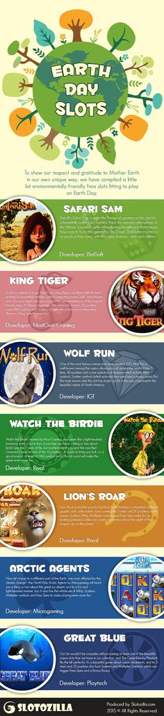 top 7 earth day online slots infographic slotozilla  Slotozilla Team has made up a collection of TOP 7 free online slots dedicated to Earth Day.