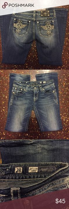 Miss Me Jeans These are a boot cut pair of miss me jeans style JE5321BR great condition minus bottom hem as shown. Thanks for looking! Miss Me Jeans Boot Cut