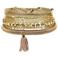 New Look Gold Tassel Stretch Bangles (155 MXN) ❤ liked on Polyvore featuring jewelry, bracelets, gold, gold hinged bangle, gold bangles jewelry, gold jewellery, yellow gold bangle and bangle jewelry