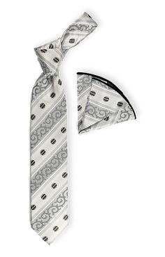 Men's Silk Tie & Hanky Set by Steven Land - Diagonal Pattern / Dot - White Tie Set for Men