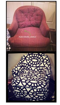 The Easy Way To Reupholster a 90's chair. Tips and tricks from Brooklyn Berry Designs.
