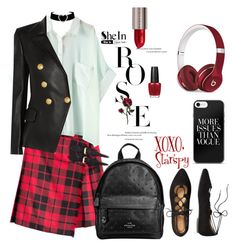 """Rose"" by starspy ❤ liked on Polyvore featuring Burberry, TravelSmith, Balmain, Coach, Urban Decay, OPI and Beats by Dr. Dre"