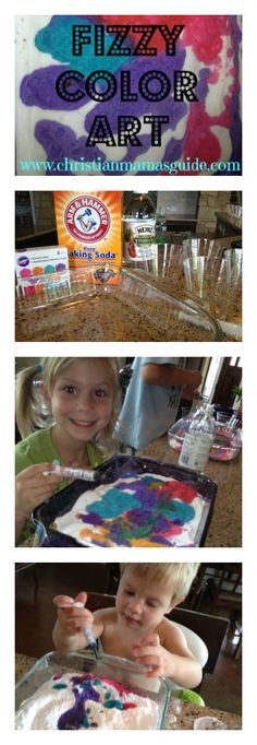 Science-related activity idea: Make fizzing colored art masterpieces with baking soda, vinegar and food coloring.
