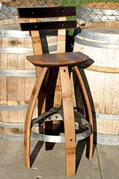 Reclaimed/industrial Wine Barrel Bar Stool With Backrest