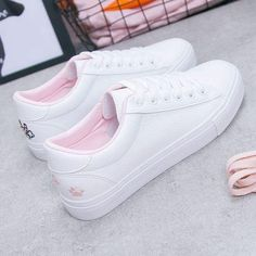 Season New Women's Shoes Wild White Shoes Female Students Flat Shoes Women's Shoes Casual Shoes With White Shoes - Welcome To Best Place To Buy Shoes Girls Sneakers, Girls Shoes, Shoes Women, Ladies Shoes, Footwear For Girls, White Shoes For Girls, White Casual Shoes, Womens Fashion Sneakers, Fashion Shoes