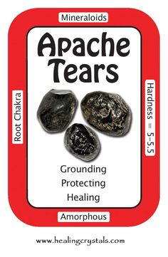 "Apache Tears, ""I am healing emotional wounds.""  Apache Tears have an uncanny ability to lend support during times of sorrow. They will gently help one to accept and then release their grief, thereby releasing and removing blockages.   Code HCLOVEU = 15% discount during Feb  Apache Tears: www.healingcrystals.com/advanced_search_result.php?dropdown=Search+Products...&keywords=apache  Crystal Cards: www.healingcrystals.com/Crystal_Information_Cards___Oracle_Decks_1__2_and_3.html"