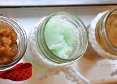 Sugar Hand/Foot Scrubs:Peppermint Scrub:    Mix together 1 cup sugar, 1/3 cup mineral oil, 2 T. corn syrup, 1/2 t. peppermint extract and a drop of green food coloring.    Brown Sugar and Honey Scrub:    Mix together 1 cup brown sugar, 1/3 cup mineral oil and 2 T. honey.    Sugar Cookie Scrub:    Mix together 1 cup raw sugar, 1/3 cup mineral oil, 2 T. corn syrup and 1 t. vanilla.