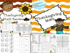 This Thanksgiving Math  bundle includes 8 printables (with answer keys) to be used as student practice.  The review is suitable for students in 5th and 6th grade and includes a variety of concepts.  The files can also be purchased individually at my TPT store http://www.teacherspayteachers.com/Store/Math-From-My-Angle .The following concepts are included in this bundle:*Prime Factorization*Exponents*Adding Fractions*Equivalent Fractions*Operations with Decimals*Unit…