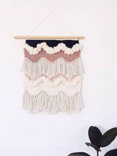 follow me @cushite Woven Wall Hanging: Boho Tapestry Scallop Waves Weaving