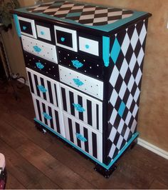 Black & White Harlequin Dresser Chest Of Drawers Whimsical Painted Furniture Polka Dot Stripe Dresser Funky Painted Furniture Made To Order.