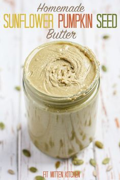 Sunflower Pumpkin Seed Butter [Fit Mitten Kitchen] Nut-free and vegan! I'd skip the sweetener and add salt. Sunflower Butter, Pumpkin Seed Butter, Sugar Pumpkin, Sunflower Seeds, Sunflower Seed Butter Recipes, Pumpkin Seed Recipes, Fit Mitten Kitchen, Butter Spread, Nut Free