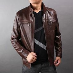 Handmade Men brown leather jacket with front by customdesignmaster, $139.99