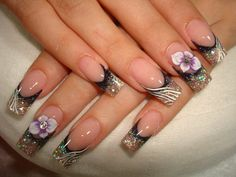 ♥ Acrylics - French with black and zebra Fancy Nails Designs, Creative Nail Designs, Creative Nails, Acrylic Gel, Acrylic Nail Designs, Nail Art Designs, Get Nails, Hair And Nails, Nails First