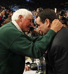 Coach K and Bob Knight..All time winningest coach in NCAA record broken and I saw it happen. Awesome.