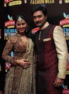 Newly wed couple Actress Sneha and Hero Prasanna Ramp Walk at CIFW 2012 Stills in Chennai.
