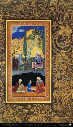 A masterpiece of Persian miniatures - Moraqqaʿ-e Golšan شاهکار مینیاتور فارسی - کتاب کوچک مرقع گلشن Mughal Miniature Paintings, Oriental Art, Miniature Art, Islamic Art Calligraphy, Indian Art, Writing Art, Islamic Paintings, Islamic Artwork, Miniature Painting