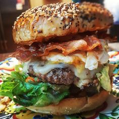My cousin made a bacon egg and cheese burger with an everything bagel as a bun