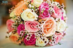 Beth's June wedding bouquet of roses and waxflowers.