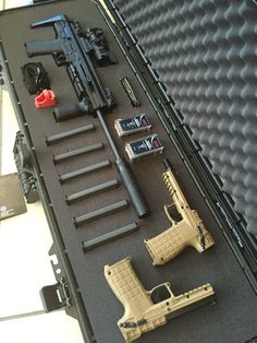 Kel-Tec with two Kel-Tec - All together you're carrying of in a light weight package Weapons Guns, Guns And Ammo, Firearms, Shotguns, Nissan 240sx, Shooting Guns, Gun Cases, Gun Storage, Cool Guns