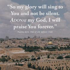 """So my glory will sing to You and not be silent. ADONAI my God, I will praise You forever."" Psalms 30:13 TLV #tlvbible #verseoftheday"