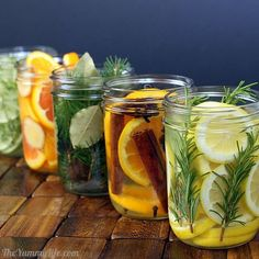 Five Natural Room Scent Recipes (DIY): 1) Oranges, cinnamon & cloves (allspice and anise are optional). 2) Lemon, rosemary, & vanilla 3) Lime, thyme, mint & vanilla extract 4) Orange, ginger (fresh or powdered), and almond extract 5) Pine or cedar twigs (or other fragrant twigs), bay leaves, and nutmeg. LOADS more info here. :)