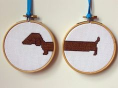 Too Long Dachshund Counted Cross Stitch Kit by slipcoveryourlife