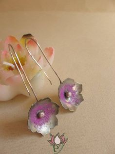 Lotus earrings alpacca silver and cold enamel by PadmaJewels