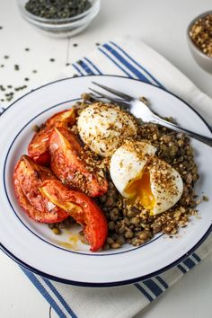 Lentils, Harissa-Roasted Tomatoes, Dukka-Rolled Eggs