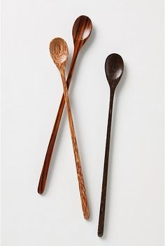 """Iced Tea Spoons. This handcarved wooden set is perfect for stirring sweetness into your summer libations.  Set of three.  Coconut wood, rose wood and aren wood.  Hand wash.  11.75""""L.  #20841904  $14.00 http://www.anthropologie.com/anthro/catalog/productdetail.jsp?id=20841904&catId;=HOME-TABLETOP-DINNERWARE&pushId;=HOME-TABLETOP-DINNERWARE&popId;=HOME&navAction;=top&navCount;=408&color;=014&isProduct;=true&fromCategoryPage;=true&subCategoryId;=HOME-DINNER-UTENSILS"""