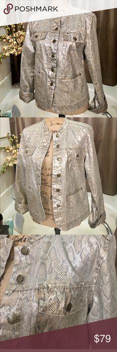 """Dana Buchman Gold Metallic Jean Jacket Reptile pattern Gold Shimmer Jean Jacket Styled Coat.  23"""".  Like New. Chico's Jackets & Coats Jean Jackets"""