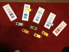 De kleurenwaaiers. je maakt op kleurenwaaiers lettergrepen/ letters. je maakt op losse kleurenkaartjes de rest van het woord.  De leerlingen leggen hun losse kleurkaart op de kleurenwaaier en lezen het ontstane woord.