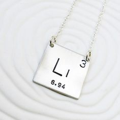 Periodic Table Element Necklace - Hand Stamped Jewelry, Personalized Jewelry - Science Gift - Gift for Her - Geek Gift - Choose Your Element Diamond Cross Necklaces, 14k Gold Necklace, Diamond Solitaire Necklace, Cluster Necklace, Bridal Necklace, Diamond Pendant Necklace, Hand Gestempelt, Science Gifts, Minimal Jewelry