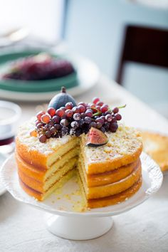 Apple layer cake with champagne grapes and figs.