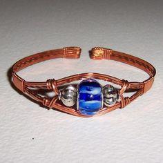 Blue Glass Beaded Copper Wire Wrapped Cuff Bracelet