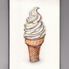 Doodlewash - My Favorite Dessert Vanilla Soft Serve Ice Cream Cone Ice Cream Illustration, Soft Serve, Watercolor Sketch, Hello Summer, Vanilla Ice Cream, Art Classroom, Food Illustrations, Washi, Art Lessons