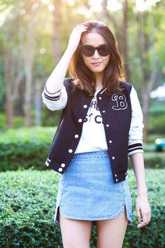 Goodnight Macaroon Fashion Blogger.    Double Side Slit Denim A-line Skirt    http://www.shopgoodnightmacaroon.com/products/double-side-slit-denim-a-line-skirt