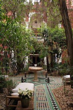 Menara, Marrakech, MA, Riad Kaiss Courtyard and garden. One of my all time favorite hotels! Outdoor Rooms, Outdoor Gardens, Outdoor Living, Outdoor Decor, Outdoor Tiles, Outdoor Patios, Outdoor Kitchens, Dream Garden, Home And Garden